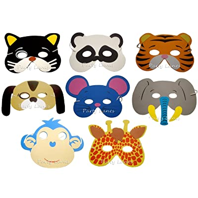 8 x Assortiment Animaux Foam Masques - Parti de la Grande Sacs