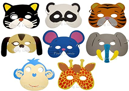 RETON Máscaras de Animales de Espuma Infantil para Fiesta (20 Piezas)