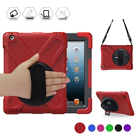 on sale 5d158 790d6 BRAECN iPad 2 Case, iPad 3 Case, iPad 4 Shockproof Case-[Heavy Duty]  Full-Body Rugged Hybrid Protective Case with 360 Rotating Kickstand/Hand ...