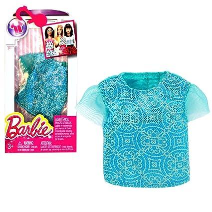 Mattel Blusa con Estampado de Brillo | Barbie DHH41 | Moda | Ropa de la Muñeca