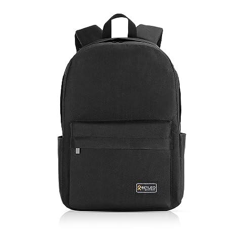 disponibilità nel Regno Unito 7c13c 6ed1e REYLEO Zaino Scuola, Uomo Zaino Unisex Classic per Laptop da 15,6 Pollici,  Impermeabile Daypack con Tasche Laterali per Bottiglia - Nero (Versione ...