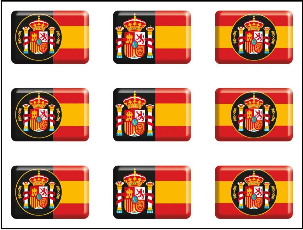 Artimagen Pegatina Bandera Rectángulo 9 uds. Escudos España Resina 16x11 mm/ud.: Amazon.es: Coche y moto