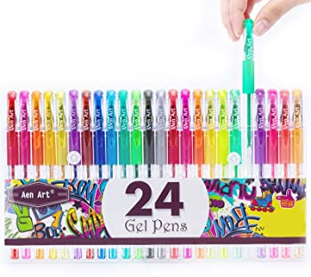The Aen Art Glitter Gel Pens Colored Fine Tip Markers