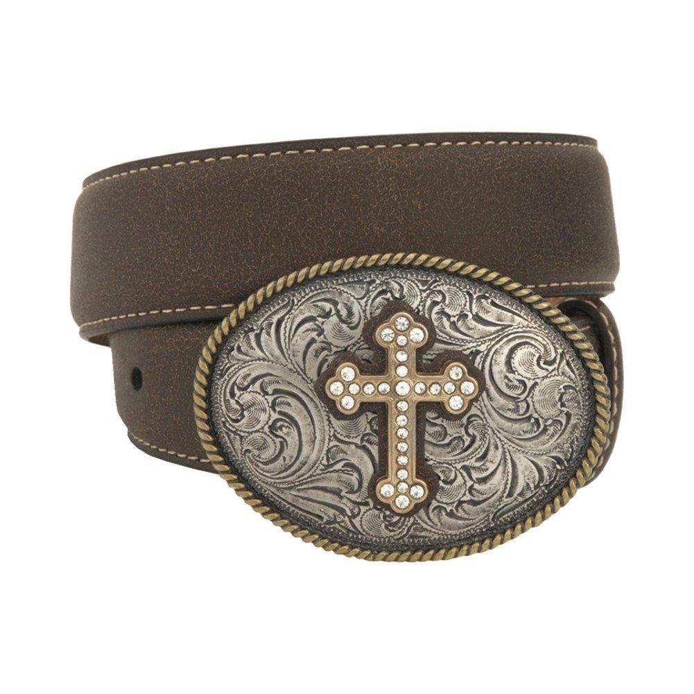 Nocona Girl's Plain Strap Cross Buckle Belt, Brown, 18