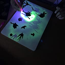 Amazon 光でお絵描きボード蓄光蛍光ledライトペン2本付きですぐに使える お布団やベッドで寝る前寝かしつけに最適 アウトドアやキャンプなど娯楽が少ない場面でも活躍 親指スイッチで正しい持ち方の習得に お絵かき おもちゃ