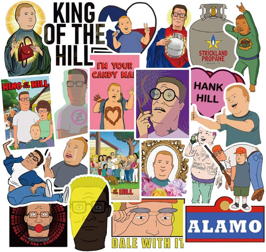 Cool Stickers for Teen and Kids, Funny Cartoon Waterproof Vinyl Decal for Laptop Water Bottle Computer Phone Luggage Bike Skateboard 50pcs Pack - King of The Hill