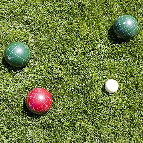 71IOJbMiNkL - Hey! Play!! 80-76090 Bocce Ball Set- Outdoor Family Bocce Game for Backyard, Lawn, Beach & More- 4 Red & 4 Green Balls, Pallino & Carrying Case