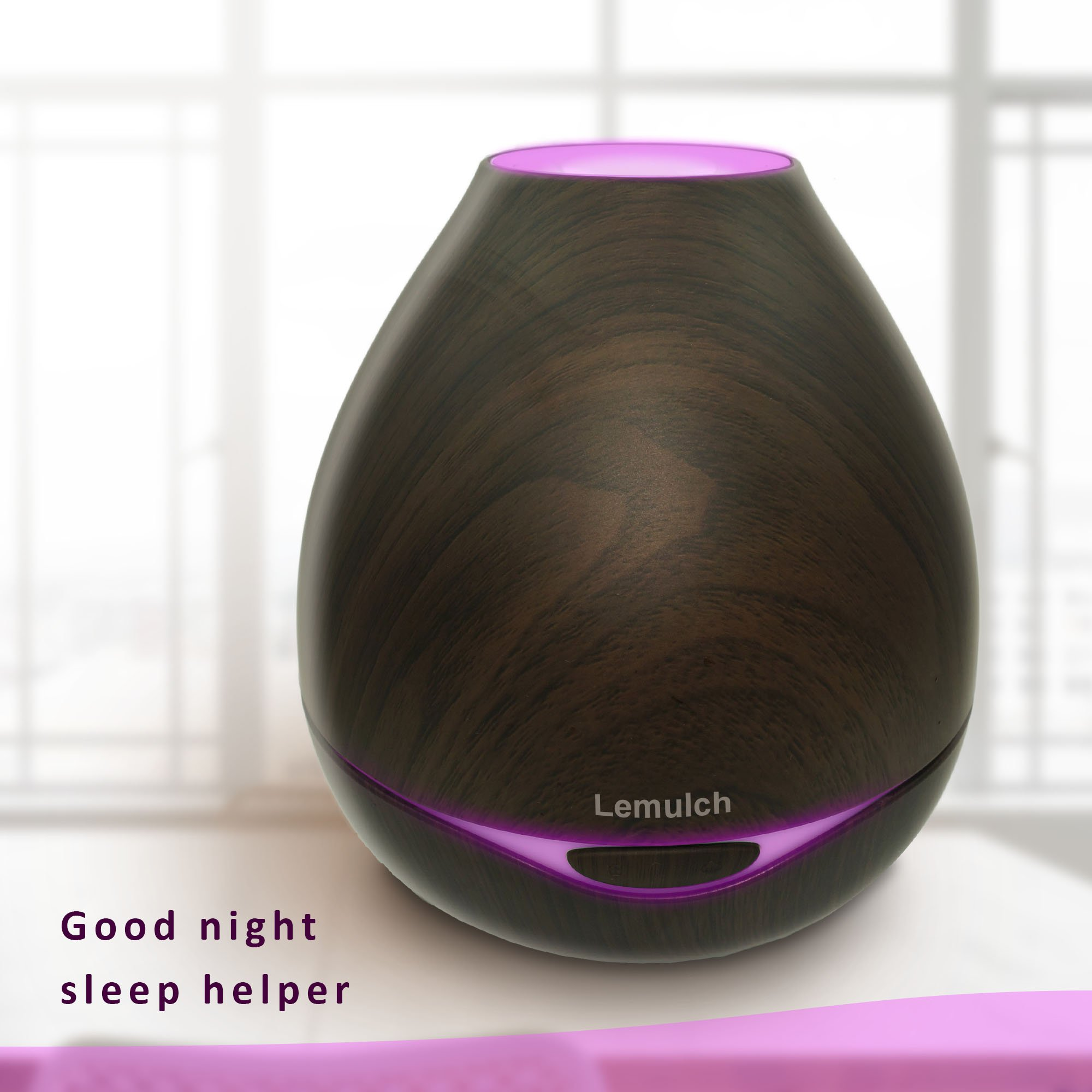 Lemulch Wood Grain 300ml Aromatherapy Diffusers&Cool Mist Humidifier for Dorm Baby Home with Adjustable Mist Mode, Lights Changing, Espresso by Lemulch (Image #7)