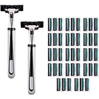 Mascarry Blade System with 42 Shaving Razors & 2 Razor Handle