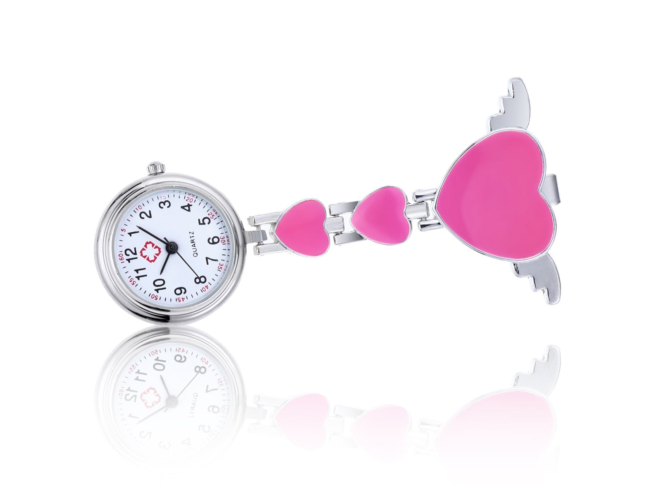 Clip on Fob Watch for Nurse with Heart Angle Wing Brooch Hanging Quartz Pocket Watch-Pink
