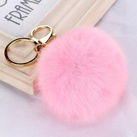 Fashion pompón bola colgante llavero llavero (rosa): Amazon ...