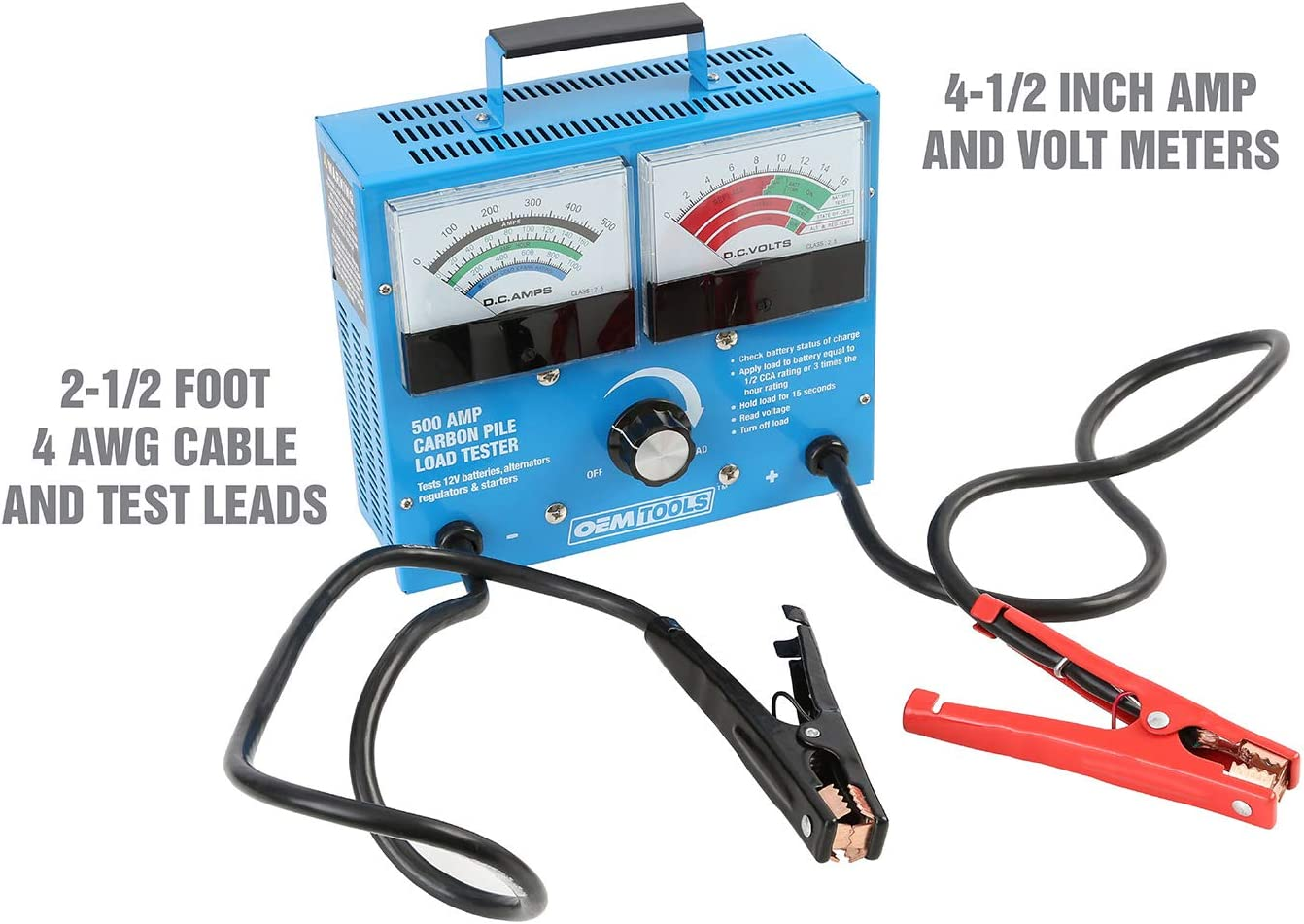 Battery Testers OEMTOOLS 500 Amp 12V Battery Load Tester Tools ...
