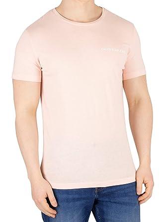 ed94324ae529 Calvin Klein Jeans Men's Chest Institutional T-Shirt, Pink | Amazon.com