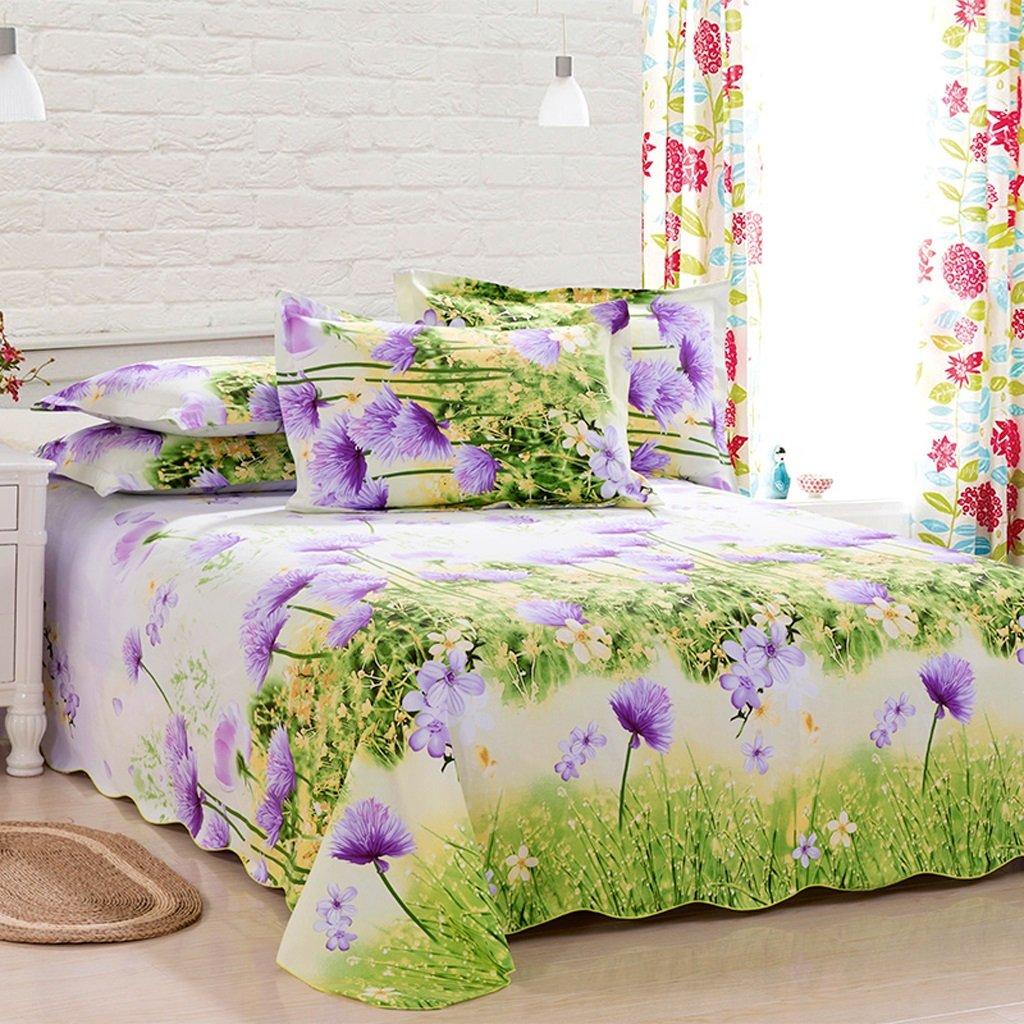 Xuan - worth having Grüne lila Blumenmuster Hochwertige Baumwollbettwäsche grobes Tuch 1.5 / 1.8 / 2.0m Einzelbett Doppelbett Einzelstück Tagesdecke ( größe : 120*230cm )