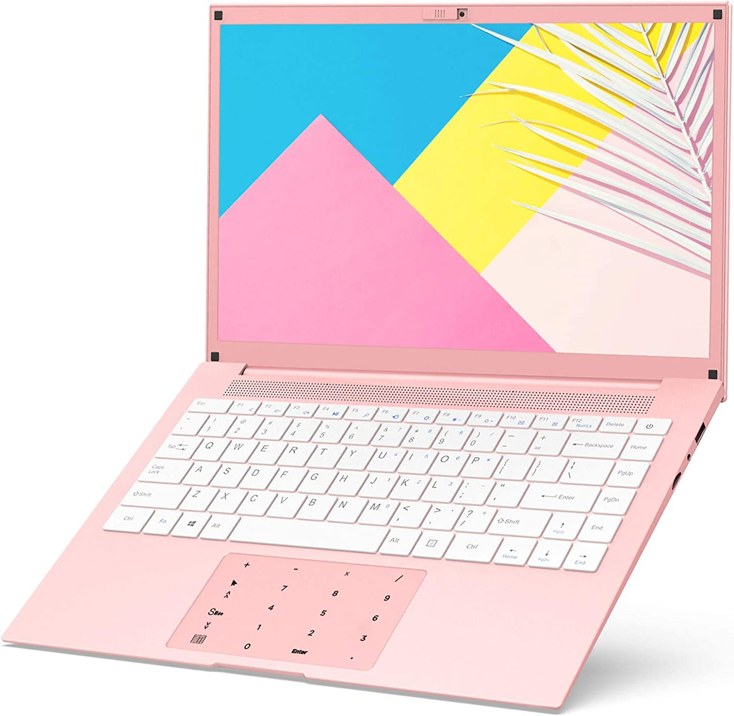 Laptop Computer 14 Inch Windows 10-HAOQIN HaoBook140 Intel Celeron J3455 6GB RAM 128GB SSD HD IPS 1366×768 Display Thin and Light Notebook PC WiFi Bluetooth 4.2 HDMI Pink