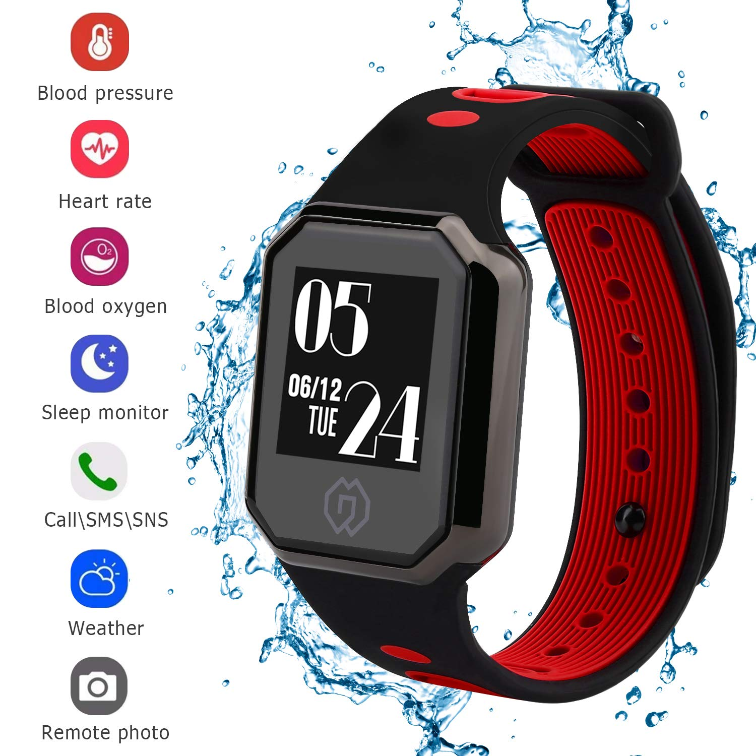 Big Screen Fitness Tracker with Heart Rate Monitor Blood Pressure Blood Oxygen Monitor, Waterproof Activity Tracker Watch with Pedometer, Sleep Monitor, Smart Watch for Men, Women and Kids(Red) …