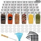 Cucumi - Juego de 30 botes de especias de vidrio de 118 ml con 30 tapas de coctelera, 1 embudo plegable de silicona, 200…