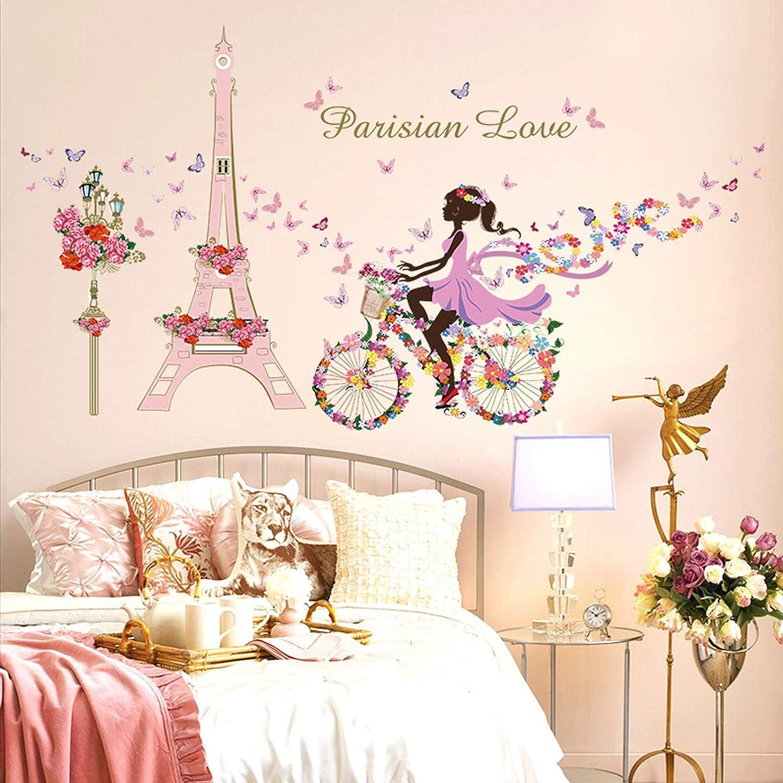 DIY Fairy Girl Wall Sticker Removable Romantic Paris Eiffel Tower Wall Decals Flower Butterfly Girl Riding Art Decal Home Decor