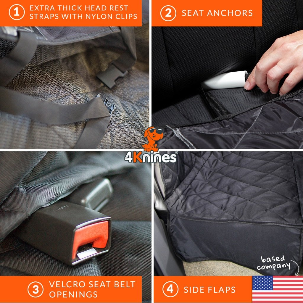 4Knines Dog Seat Cover with Hammock for Full Size Trucks and Large SUVs - Black Extra Large - USA Based Company by 4Knines (Image #7)