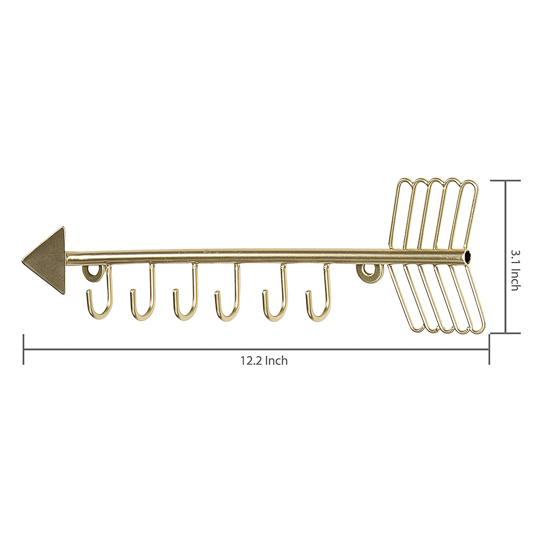Arrow design parete gancio color ottone metallo 6/collana organizzatore appeso rack