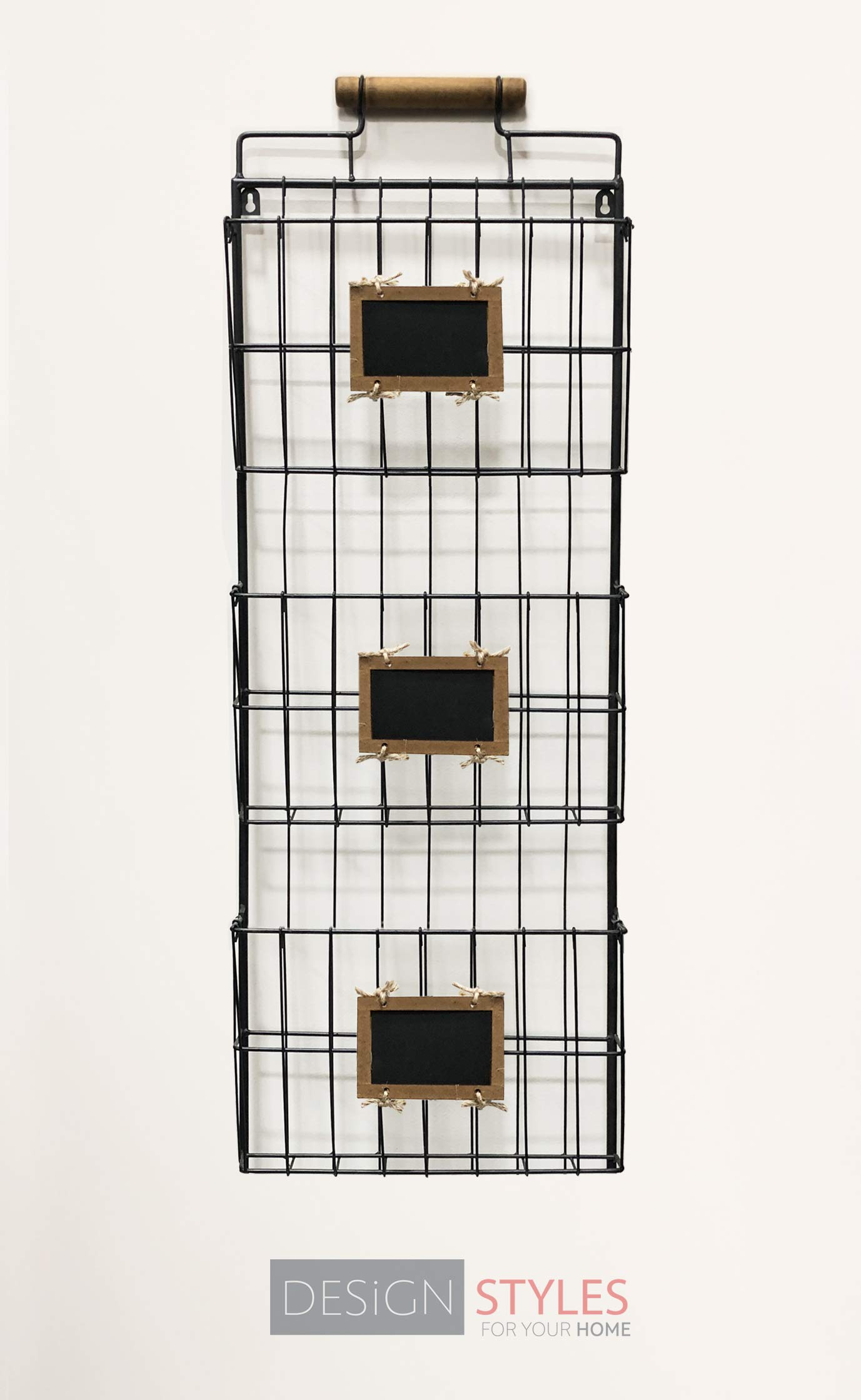 Wall File Holder with Wood Handle - Black, Three Tier Durable Metal Rack with Spacious Slots for Easy Organization, Mounts on Wall and Door for Office, Home, and Work - by Designstyles by Designstyles