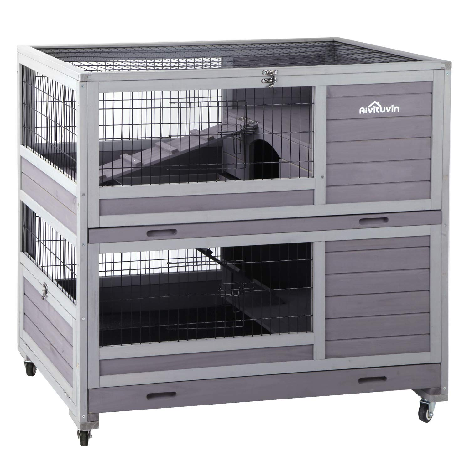 Aivituvin Rabbit Hutch Indoor and Outdoor Bunny Cage on Wheels Guinea Pig Cage with Deep No Leak Pull Out Tray by Aivituvin