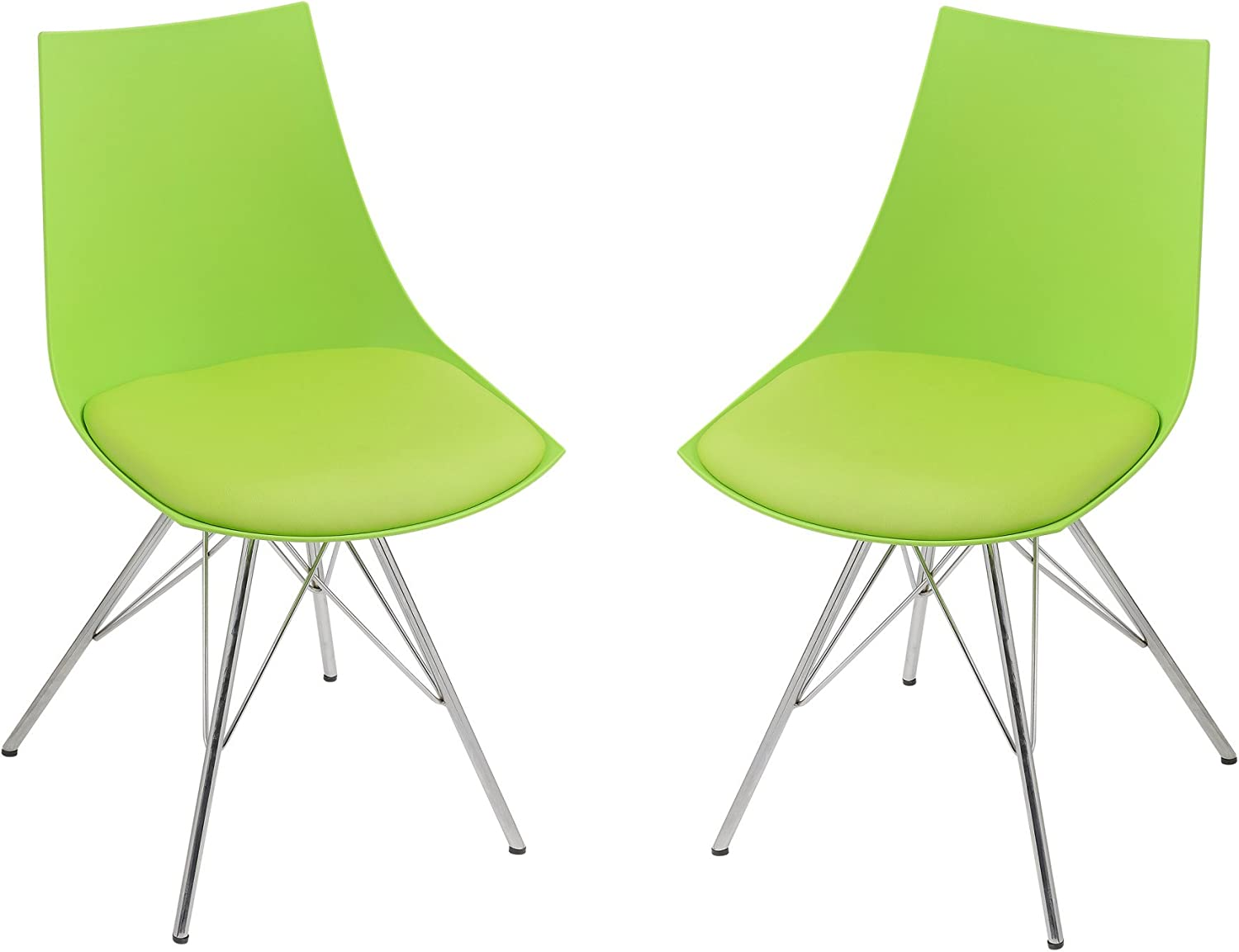 Emerald Home Audrey Green Dining Chair with Molded Plastic Shell, Cushioned Seat, And Metal Geometric Bracing, Set of Two
