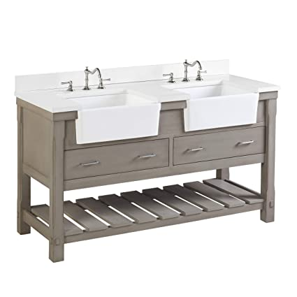 60 Inch White Bathroom Vanity.Charlotte 60 Inch Double Bathroom Vanity Quartz Weathered Gray Includes A Quartz Countertop Weathered Gray Cabinet With Soft Close Drawers And