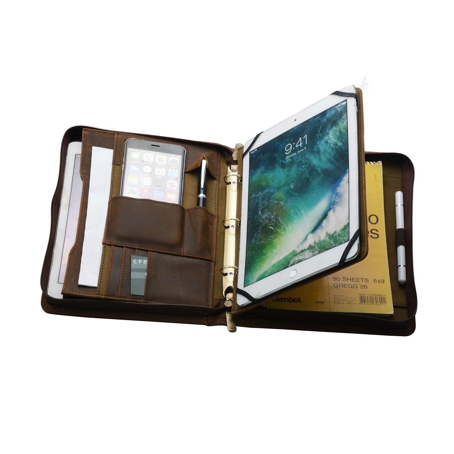 Rustic Leather 3-Ring Binder Portfolio with Tablet Holder for Jr Legal / A5 Paper