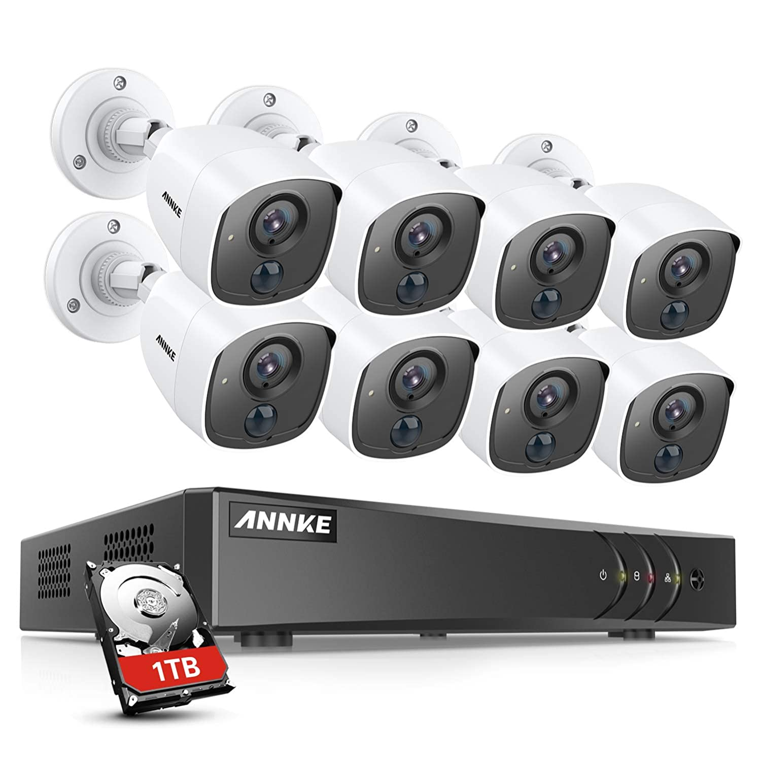ANNKE Surveillance Security Camera System 8 Channel 5-in-1 H.265 3MP DVR and 8 1080P HD Weatherproof CCTV Cameras, PIR Detection, Flashing Light Alarm, Email Alert with Snapshots, 1TB Hard Drive