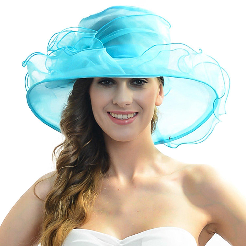 88d6d72fee007 Women Church Kentucky Derby Hat Organza Wide Brim Hat (Light Blue ...
