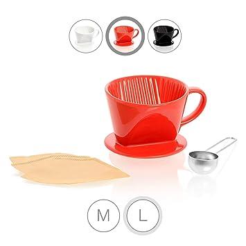 Amazy Ceramic Coffee Filter Cone Incl Measuring Spoon 10