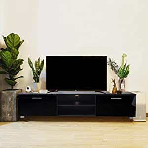 WERSMT TV Stand, Entertainment Center for 70in, Universal Black TV Stand with Storage, Large Size 63