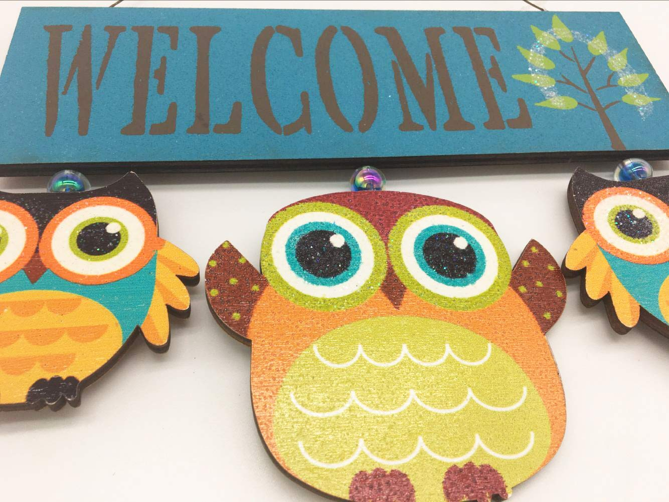 Attraction Design Primitive Country Wood Green Welcome Owl Sign//Wall Art