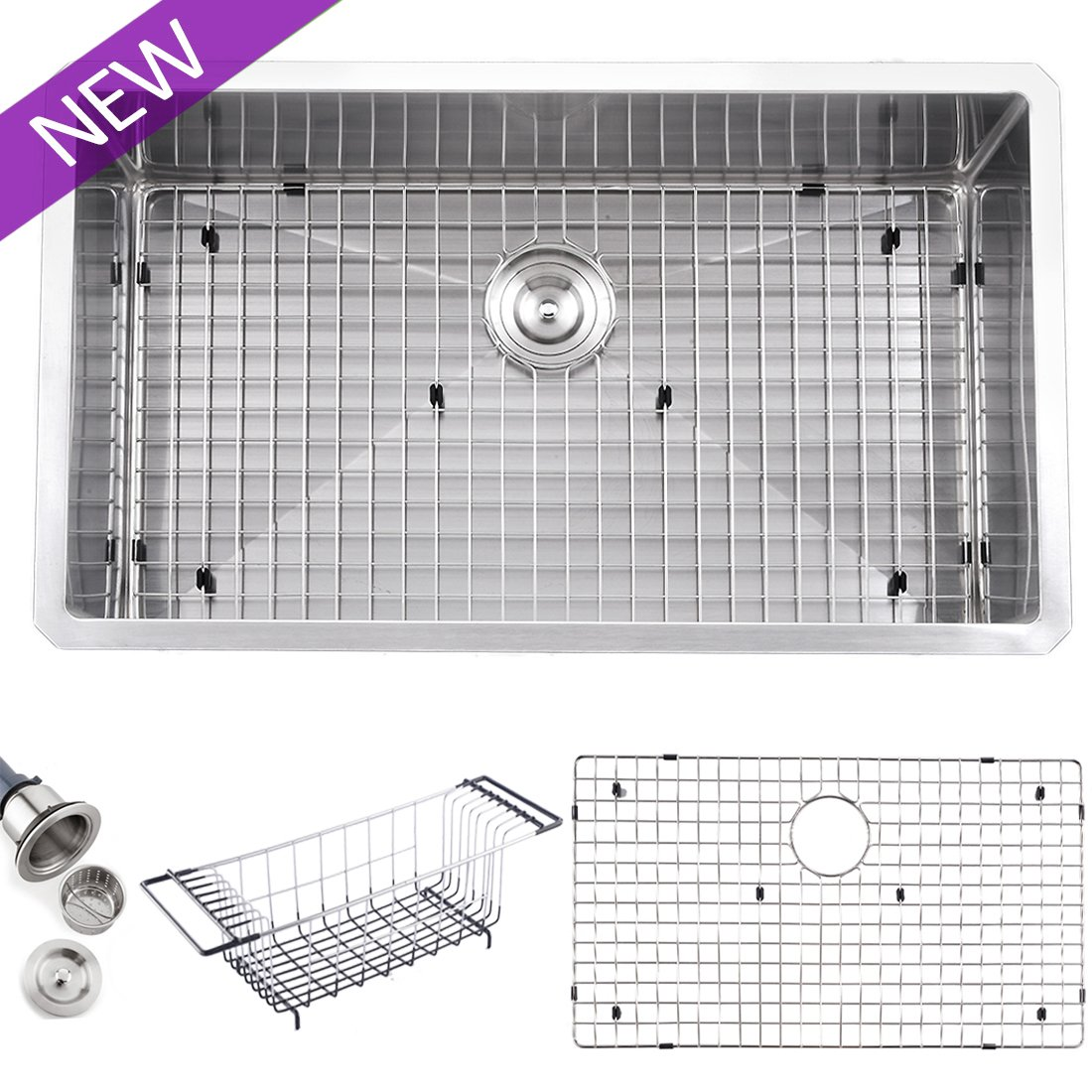 VCCUCINE Modern 32 Inch Single Bowl Undermount 304 Stainless Steel Kitchen Sink, Kitchen Sinks Including Dish Drying Rack and Dish Grid