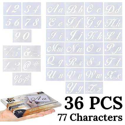 Amazon.com: Plantillas de letras para pintar sobre madera ...