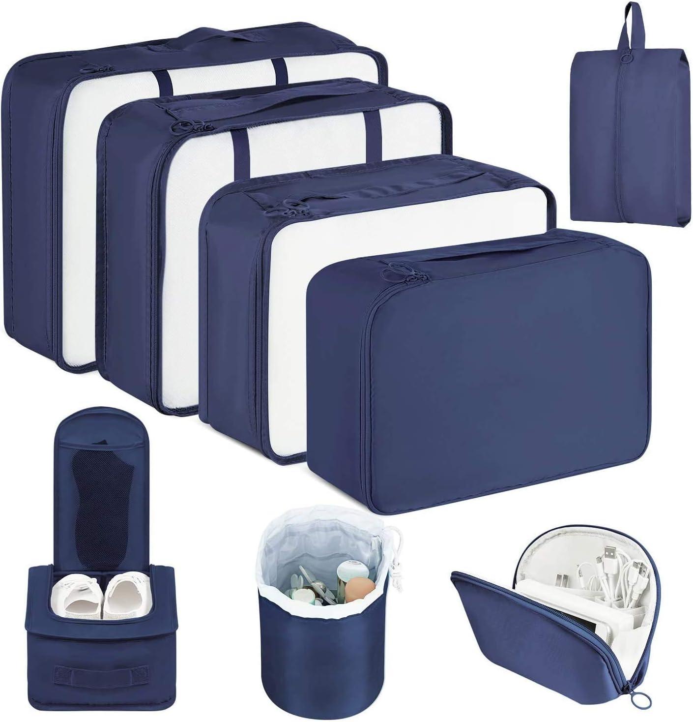 CISHANJIA Organizador de Maletas, Set de 8 Organizador de Equipaje para Maleta con Bolsa para Maquillaje, Bolsa para la Colada y Bolsa para Zapatos (Azul Marino)