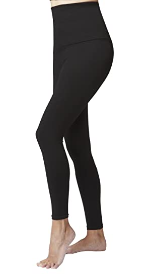 f6ba75cdf9d6 Women's Ladies Tummy Control with Figure Firming Slimming Compression Sport  High Waisted Plain Gym Leggings Black
