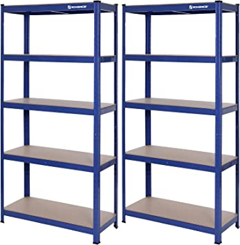 SONGMICS Estanter/ía de 5 Niveles 150 x 75 x 30 cm S/ótano Azul GLR60Q 130 kg por nivel Carga de 650 kg Bodega para Garaje Estanter/ía para Cargas Pesadas con Estante Ajustable en Altura