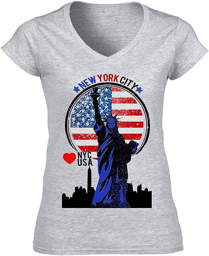 teesquare1st NYC New York City - USA Camiseta para Mujer de Algodon: Amazon.es: Ropa y accesorios