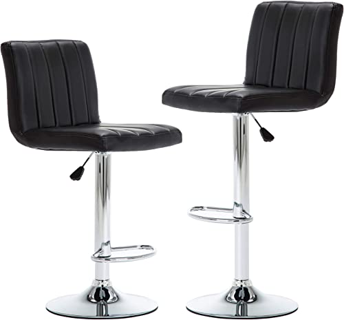 NOBPEINT Rectangular Back Adjustable Swivel Bar Stools Flannel Padded with Back, Black Set of 2