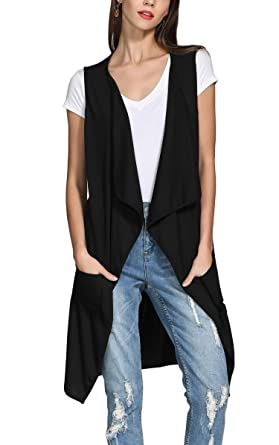 ef42b9934f5e95 Hibluco Women s Sleeveless Open Front Long Cardigan Asymmetrical Vest with  Pockets at Amazon Women s Clothing store