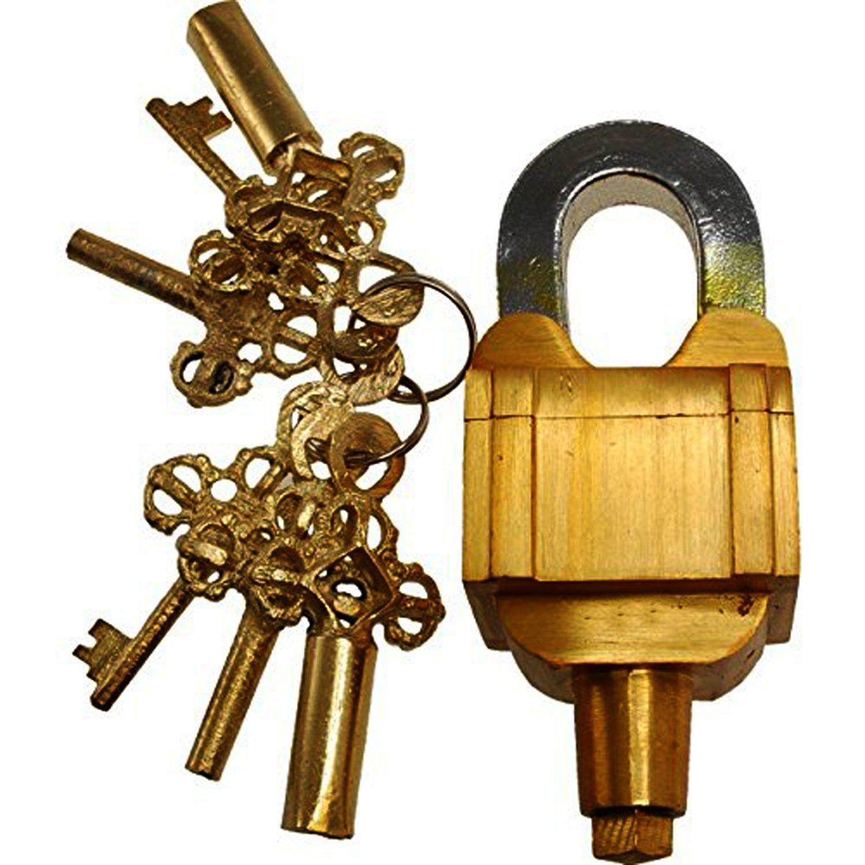 PARIJAT HANDICRAFT Garden Lock Functional Brass Square Tricky Lock Puzzle Padlock with 6 Keys (3X2 Set) Vintage Look Heavy Duty