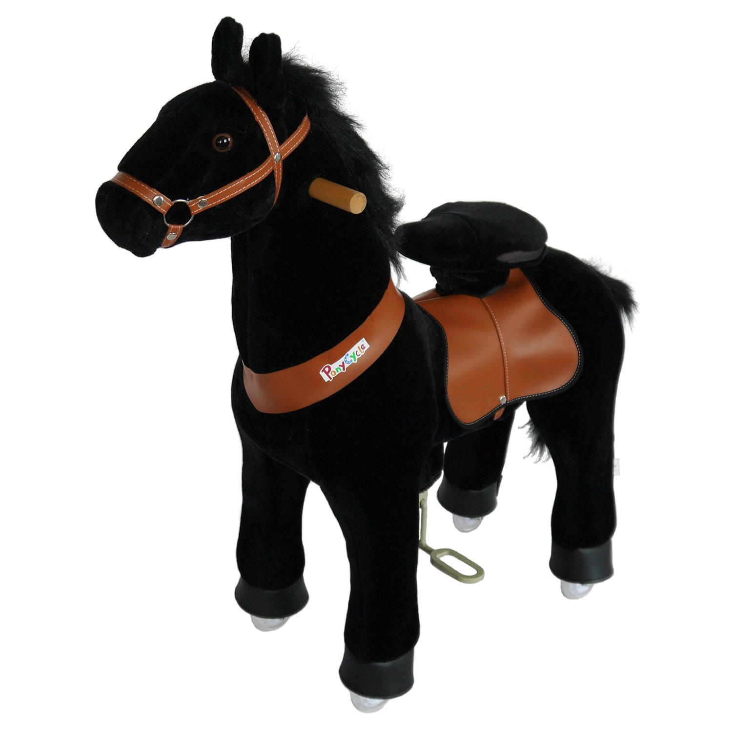 PonyCycle Official Walking Horse Black Giddy up Pony Plush Toy Ride on Animal for Age 4-9 Years Medium Size - N4183