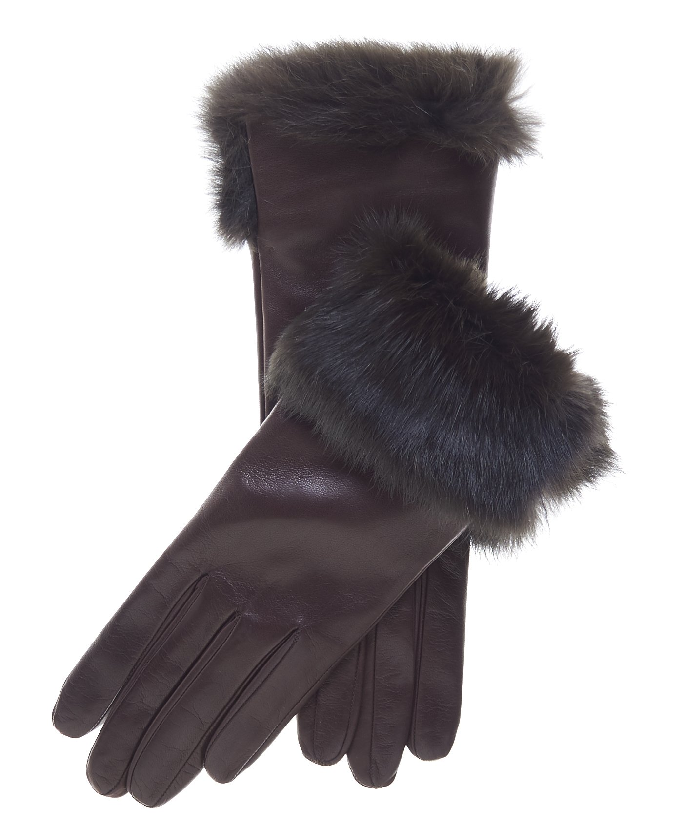 Fratelli Orsini Women's Italian Rabbit Fur Cuff Winter Leather Gloves Size 8 Color Brown