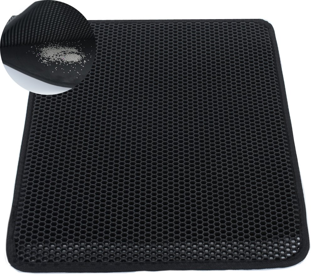 Cat Litter Mat XL Double Layer Honeycomb Cat and Dog Litter Trapper With Waterproof Base Layer ECO-friendly Light Weight EVA Foam Rubber- For Cat Litter Box (26x25in)