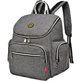 Diaper Bag Backpack with Baby Stroller Straps, Daddy Diaper Bags, Stylish Travel Designer and Organizer for Women & Men, 8 Pockets, Grey