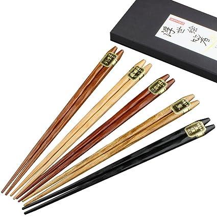 Mainiusi Palillos Japoneses Establecen Madera Natural Reutilizable Palillos Chinos con Caja de 9 pulgadas 5 pares de Palillos Lavables para Comida ...