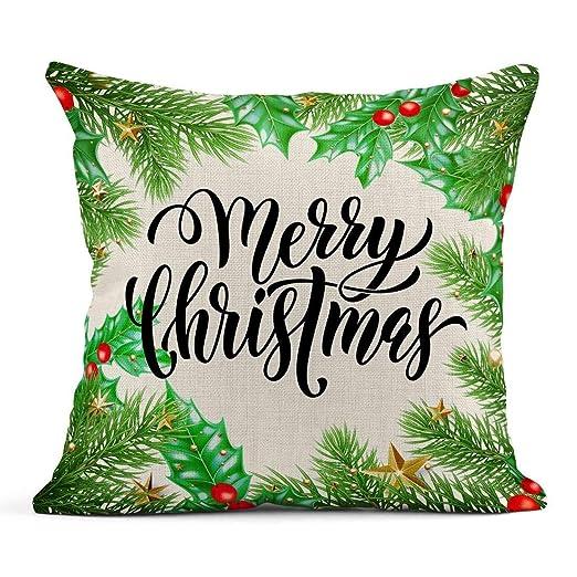 Kinhevao Cojín Merry Christmas Holiday Saying Tree Holly ...