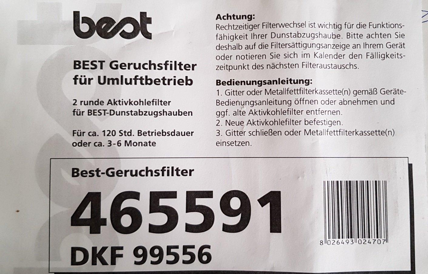 BEST Aktivkohlefilter 08999801
